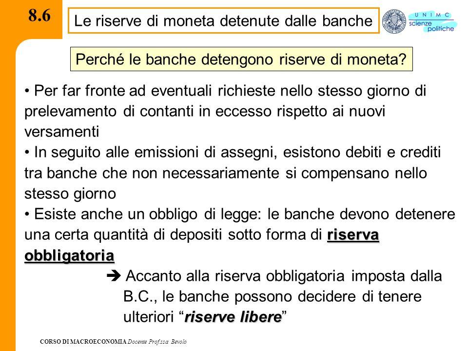 CORSO DI MACROECONOMIA Docente Prof.ssa Bevolo 8.6 Le riserve di moneta detenute dalle banche Per far fronte ad eventuali richieste nello stesso giorn