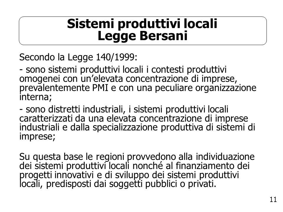 11 Sistemi produttivi locali Legge Bersani Secondo la Legge 140/1999: - sono sistemi produttivi locali i contesti produttivi omogenei con unelevata co