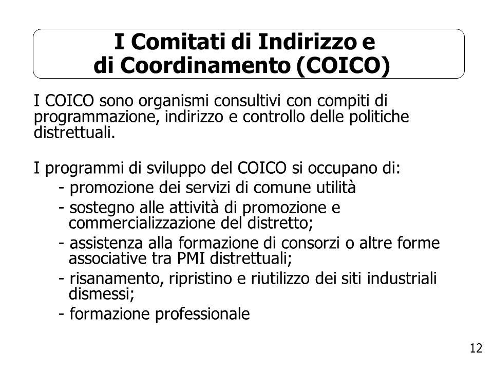 12 I Comitati di Indirizzo e di Coordinamento (COICO) I COICO sono organismi consultivi con compiti di programmazione, indirizzo e controllo delle pol