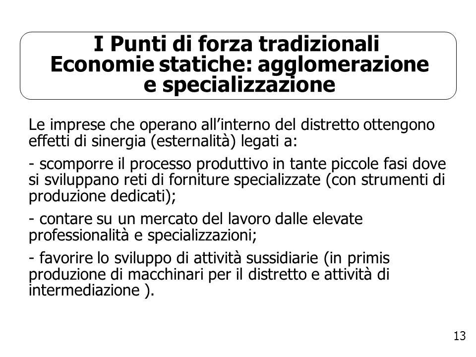 13 I Punti di forza tradizionali Economie statiche: agglomerazione e specializzazione Le imprese che operano allinterno del distretto ottengono effett
