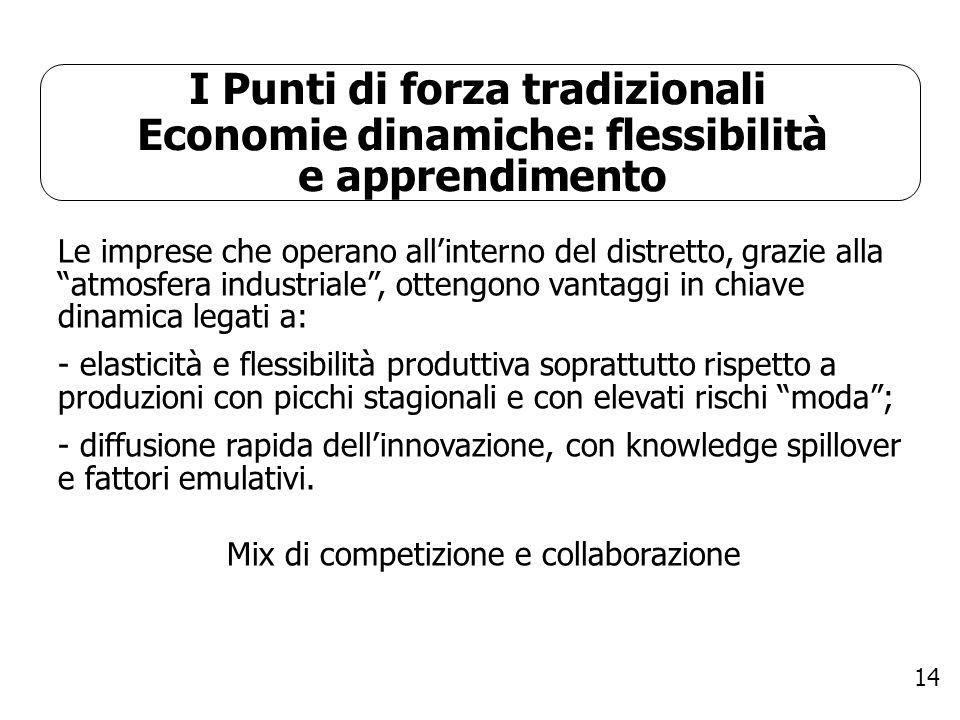 14 I Punti di forza tradizionali Economie dinamiche: flessibilità e apprendimento Le imprese che operano allinterno del distretto, grazie alla atmosfe