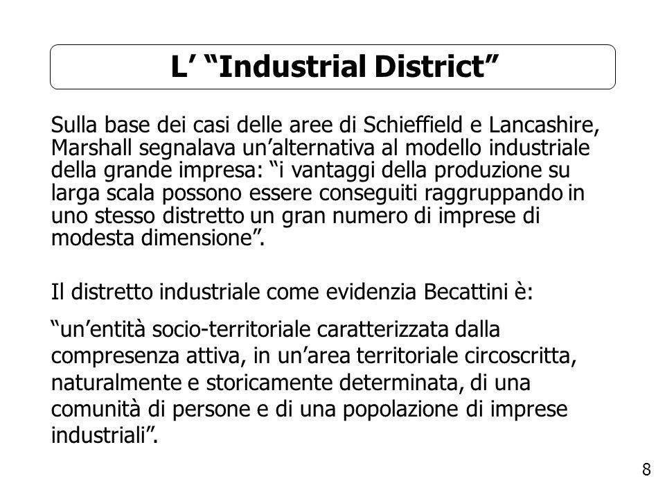 8 L Industrial District Sulla base dei casi delle aree di Schieffield e Lancashire, Marshall segnalava unalternativa al modello industriale della gran