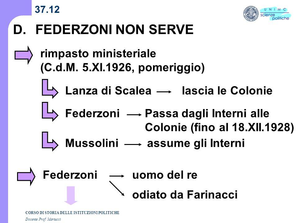 CORSO DI STORIA DELLE ISTITUZIONI POLITICHE Docente Prof. Martucci 37.12 D.FEDERZONI NON SERVE rimpasto ministeriale (C.d.M. 5.XI.1926, pomeriggio) La