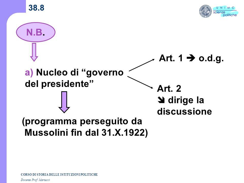 CORSO DI STORIA DELLE ISTITUZIONI POLITICHE Docente Prof. Martucci 38.8 N.B. a) Nucleo di governo del presidente (programma perseguito da Mussolini fi