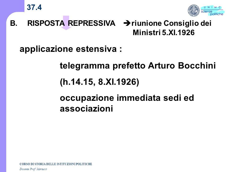 CORSO DI STORIA DELLE ISTITUZIONI POLITICHE Docente Prof. Martucci 37.4 B.RISPOSTA REPRESSIVA riunione Consiglio dei Ministri 5.XI.1926 applicazione e