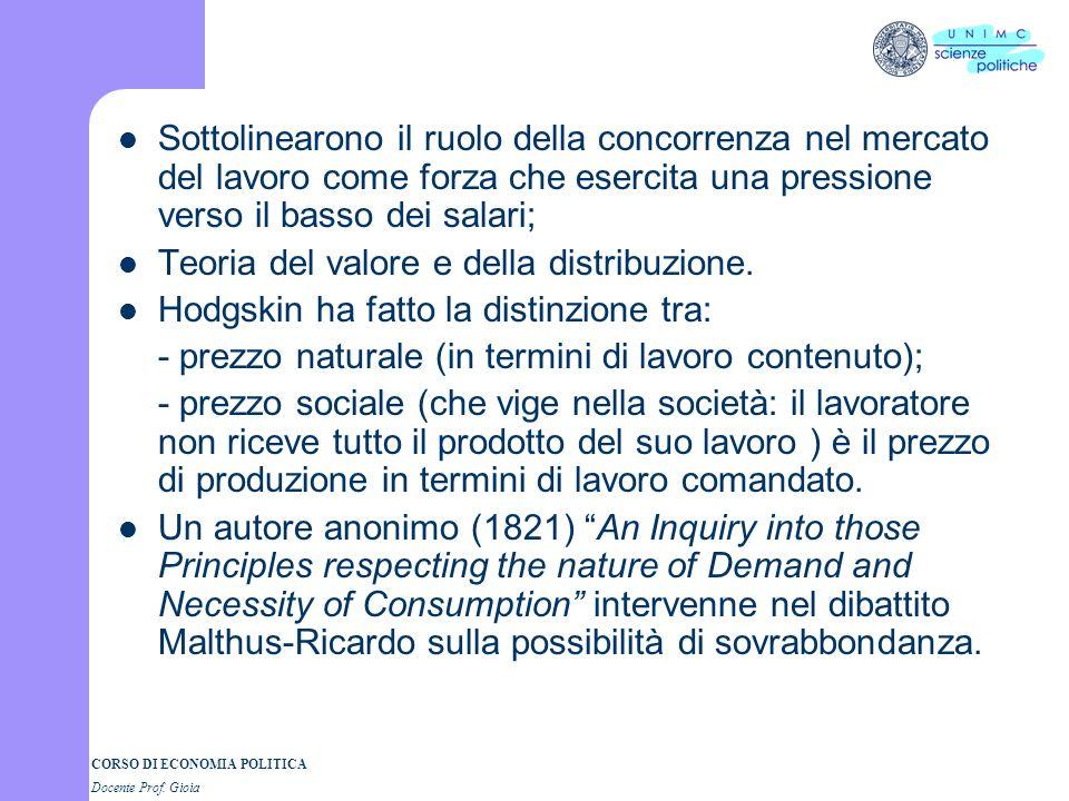 CORSO DI ECONOMIA POLITICA Docente Prof. Gioia Sottolinearono il ruolo della concorrenza nel mercato del lavoro come forza che esercita una pressione