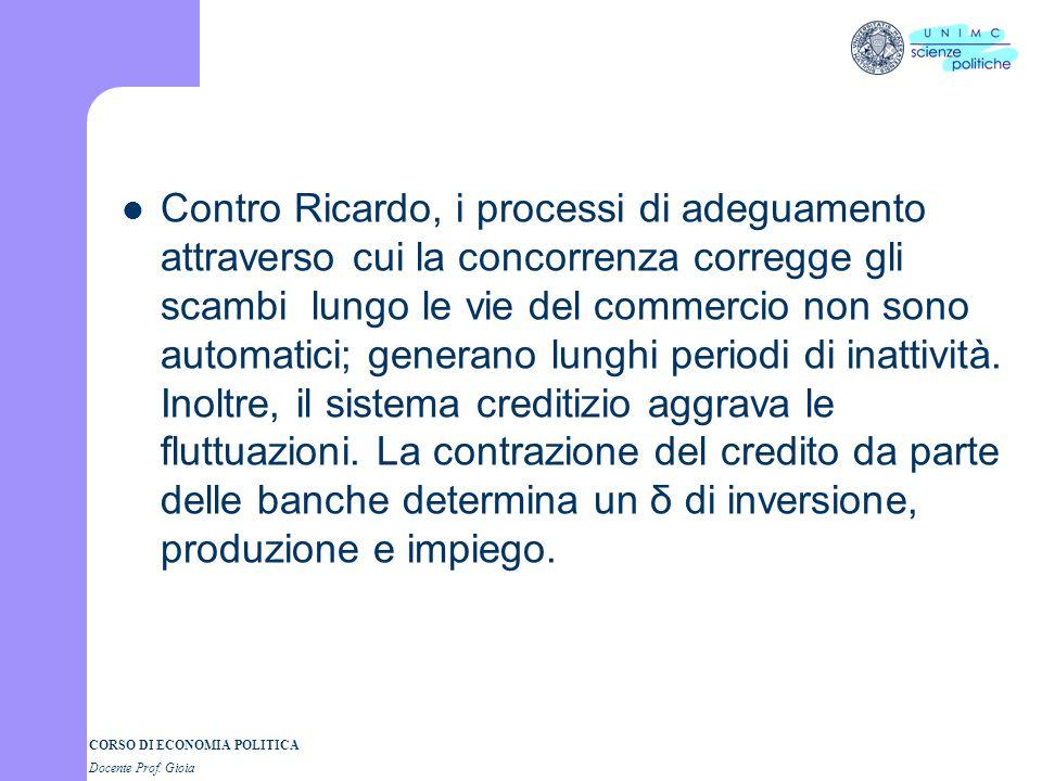 CORSO DI ECONOMIA POLITICA Docente Prof. Gioia Contro Ricardo, i processi di adeguamento attraverso cui la concorrenza corregge gli scambi lungo le vi