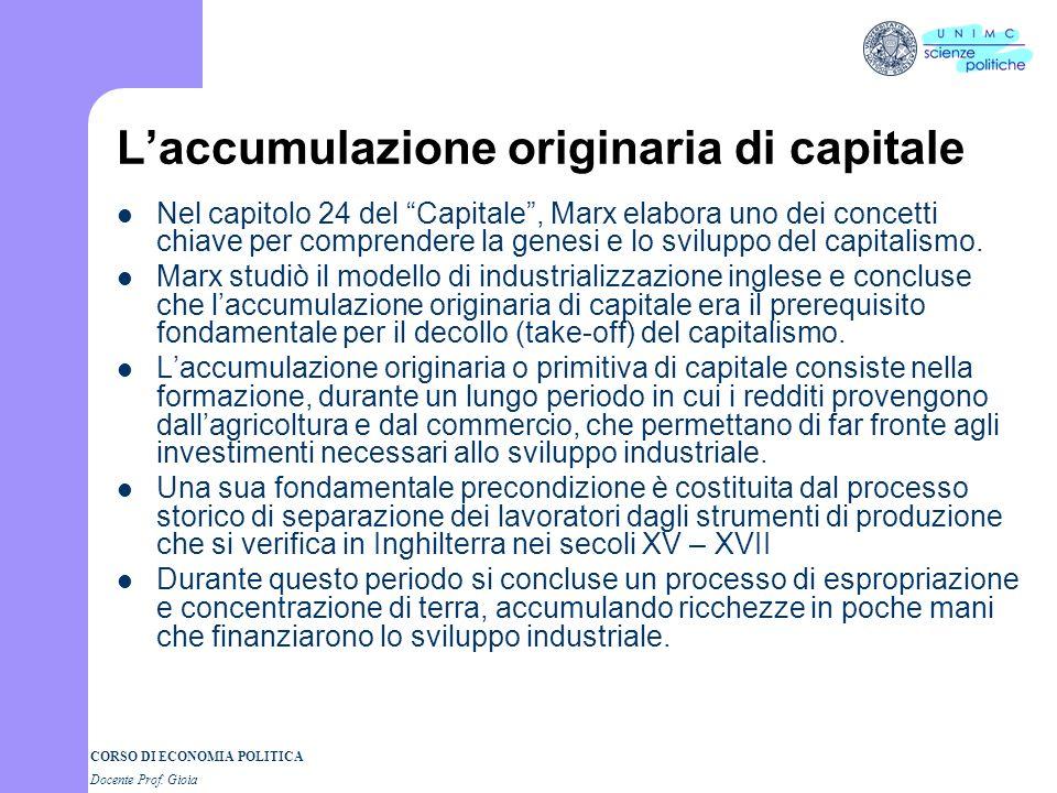 CORSO DI ECONOMIA POLITICA Docente Prof. Gioia Laccumulazione originaria di capitale Nel capitolo 24 del Capitale, Marx elabora uno dei concetti chiav