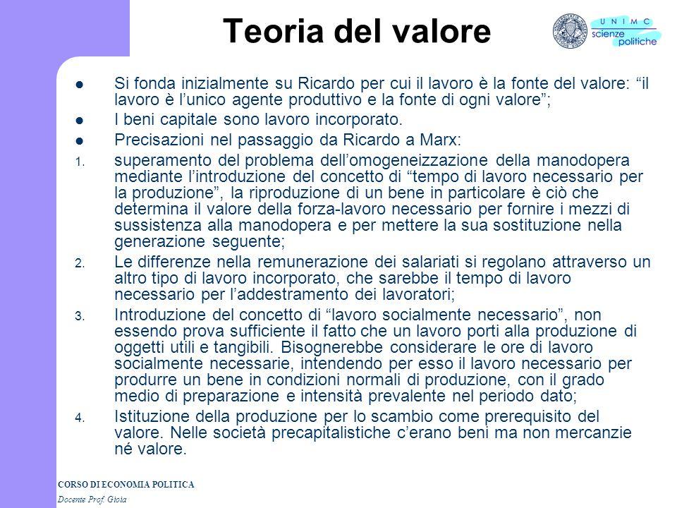 CORSO DI ECONOMIA POLITICA Docente Prof. Gioia Teoria del valore Si fonda inizialmente su Ricardo per cui il lavoro è la fonte del valore: il lavoro è
