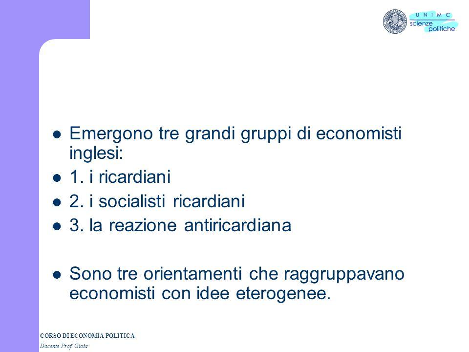 CORSO DI ECONOMIA POLITICA Docente Prof. Gioia Emergono tre grandi gruppi di economisti inglesi: 1. i ricardiani 2. i socialisti ricardiani 3. la reaz