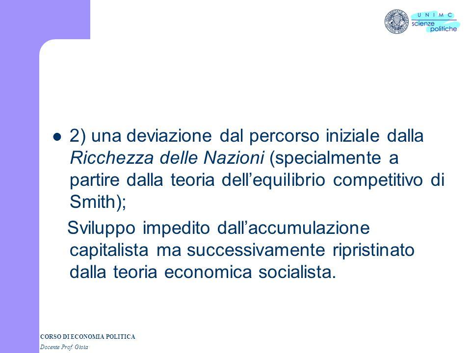 CORSO DI ECONOMIA POLITICA Docente Prof. Gioia 2) una deviazione dal percorso iniziale dalla Ricchezza delle Nazioni (specialmente a partire dalla teo