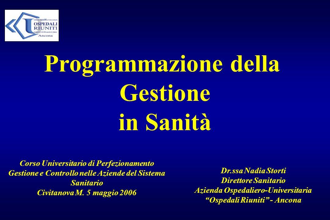 Programmazione della Gestione in Sanità Corso Universitario di Perfezionamento Gestione e Controllo nelle Aziende del Sistema Sanitario Civitanova M.