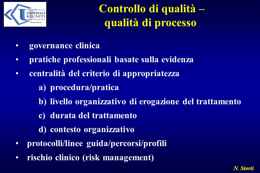 N. Storti Controllo di qualità – qualità di processo governance clinica pratiche professionali basate sulla evidenza centralità del criterio di approp