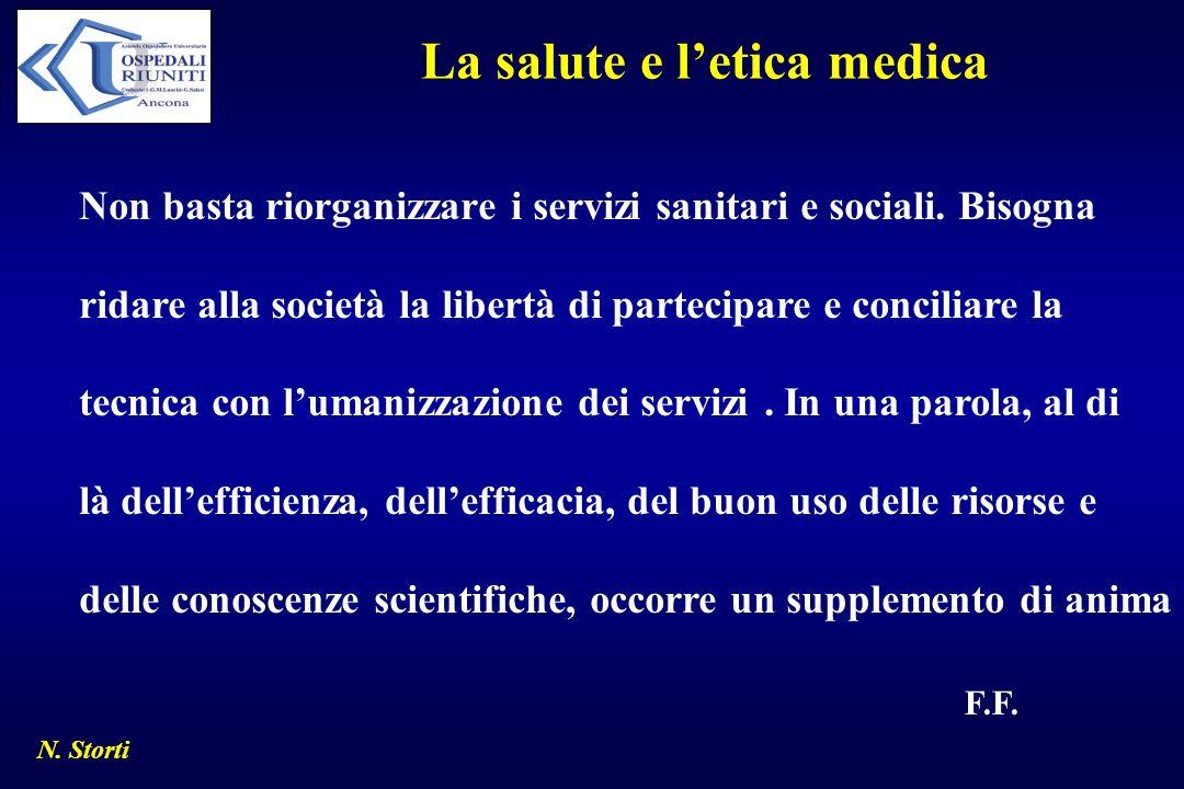 La salute e letica medica Non basta riorganizzare i servizi sanitari e sociali. Bisogna ridare alla società la libertà di partecipare e conciliare la