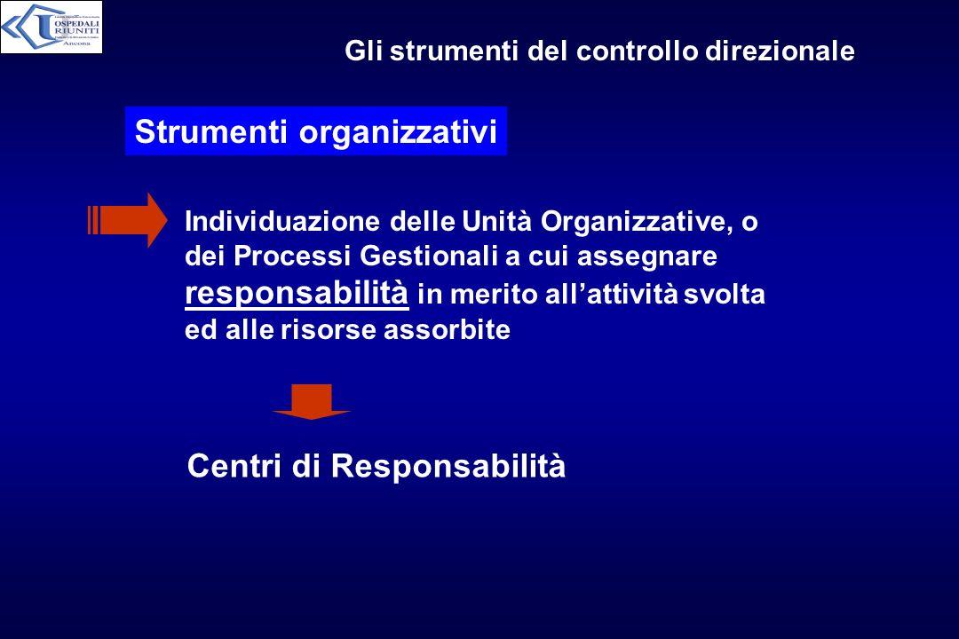 Gli strumenti del controllo direzionale Strumenti organizzativi Individuazione delle Unità Organizzative, o dei Processi Gestionali a cui assegnare re