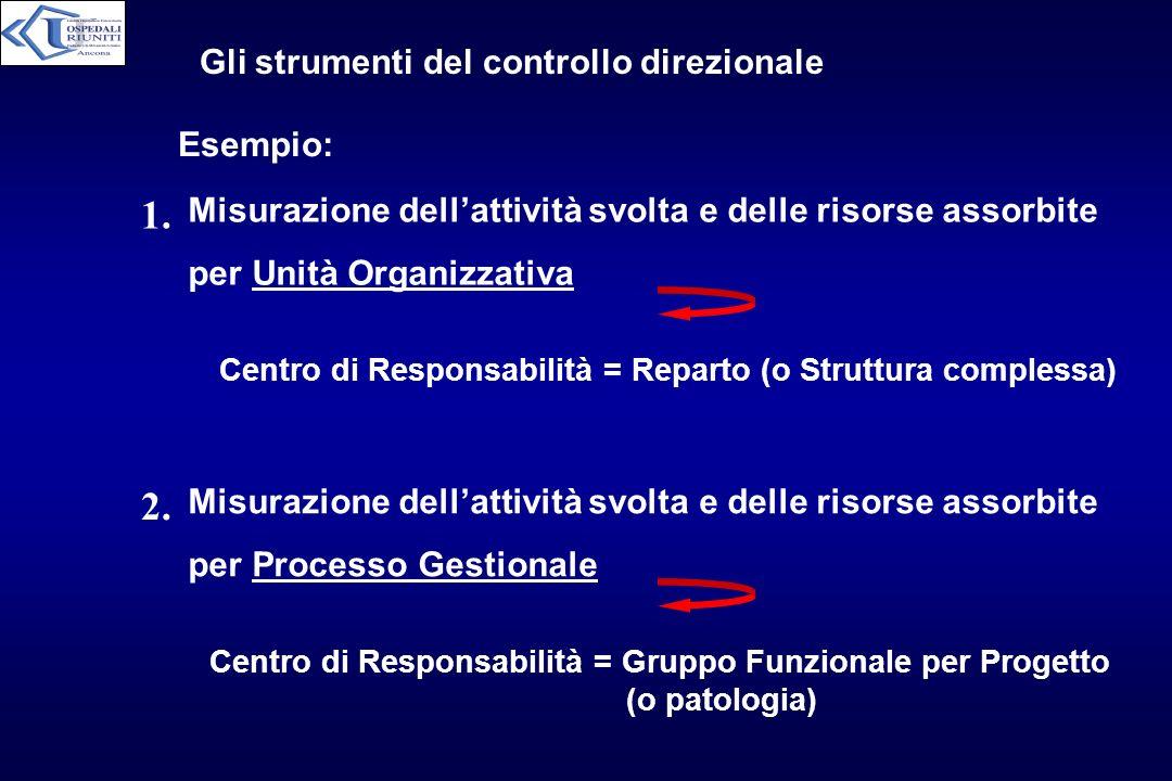 Gli strumenti del controllo direzionale Esempio: Misurazione dellattività svolta e delle risorse assorbite per Unità Organizzativa Centro di Responsab