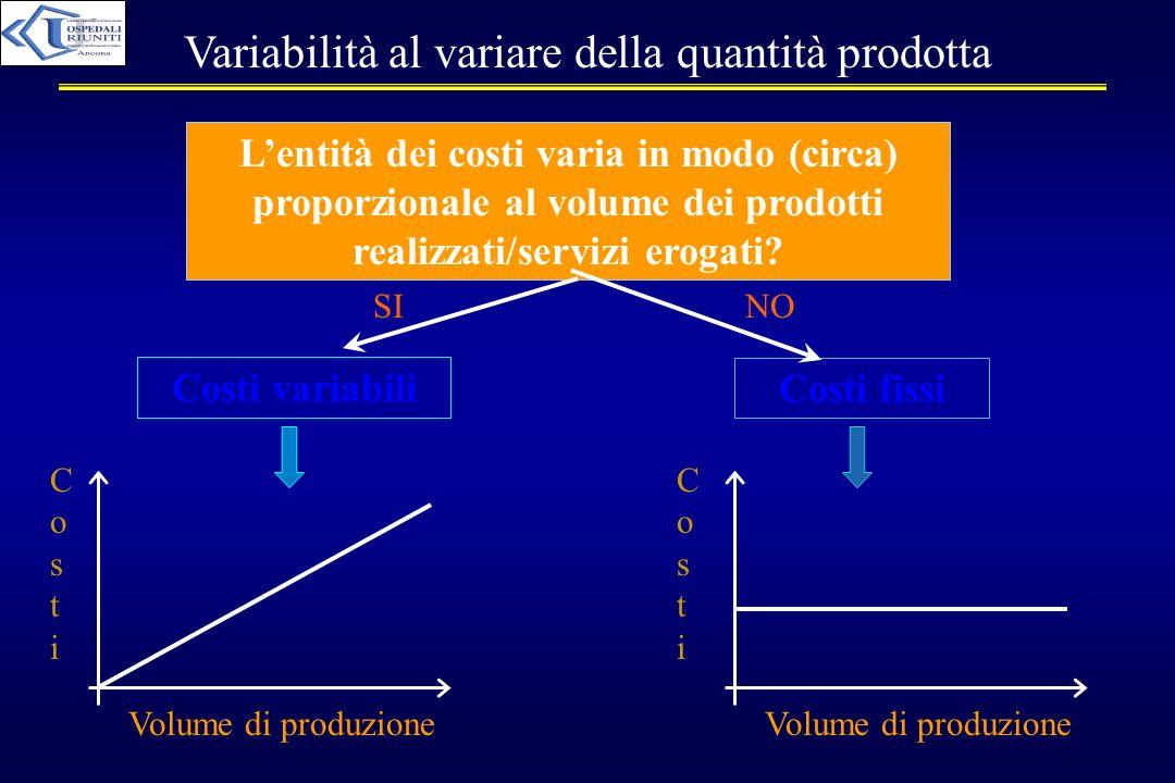Variabilità al variare della quantità prodotta Lentità dei costi varia in modo (circa) proporzionale al volume dei prodotti realizzati/servizi erogati
