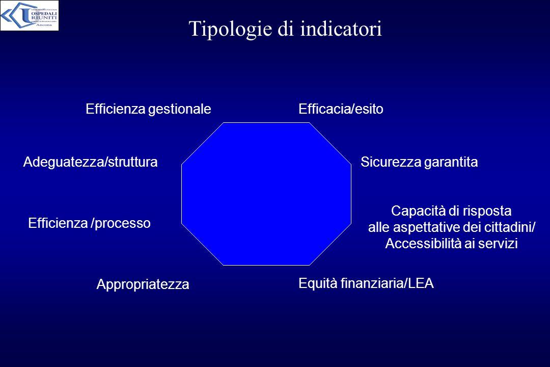 Tipologie di indicatori Efficacia/esito Sicurezza garantita Capacità di risposta alle aspettative dei cittadini/ Accessibilità ai servizi Equità finan