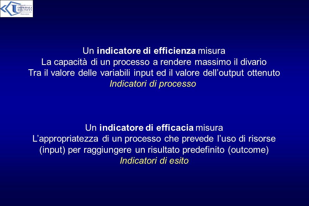 Un indicatore di efficienza misura La capacità di un processo a rendere massimo il divario Tra il valore delle variabili input ed il valore delloutput