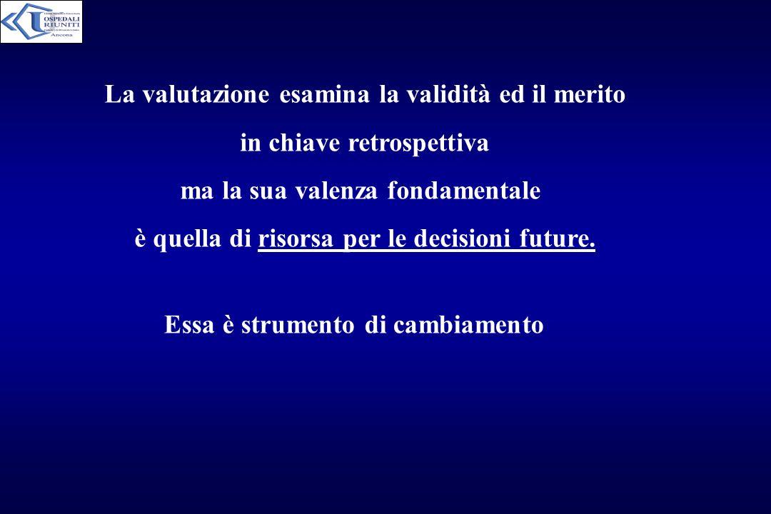 La valutazione esamina la validità ed il merito in chiave retrospettiva ma la sua valenza fondamentale è quella di risorsa per le decisioni future. Es
