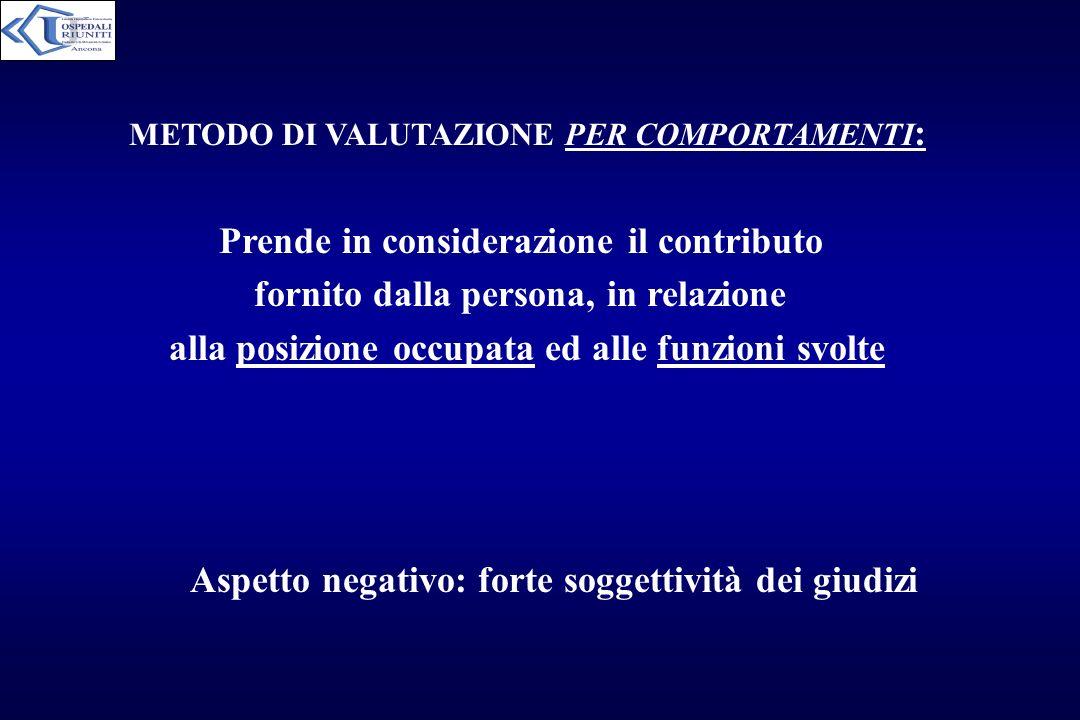 METODO DI VALUTAZIONE PER COMPORTAMENTI : Prende in considerazione il contributo fornito dalla persona, in relazione alla posizione occupata ed alle f