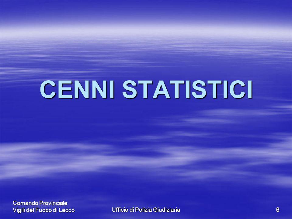 Comando Provinciale Vigili del Fuoco di LeccoUfficio di Polizia Giudiziaria6 CENNI STATISTICI