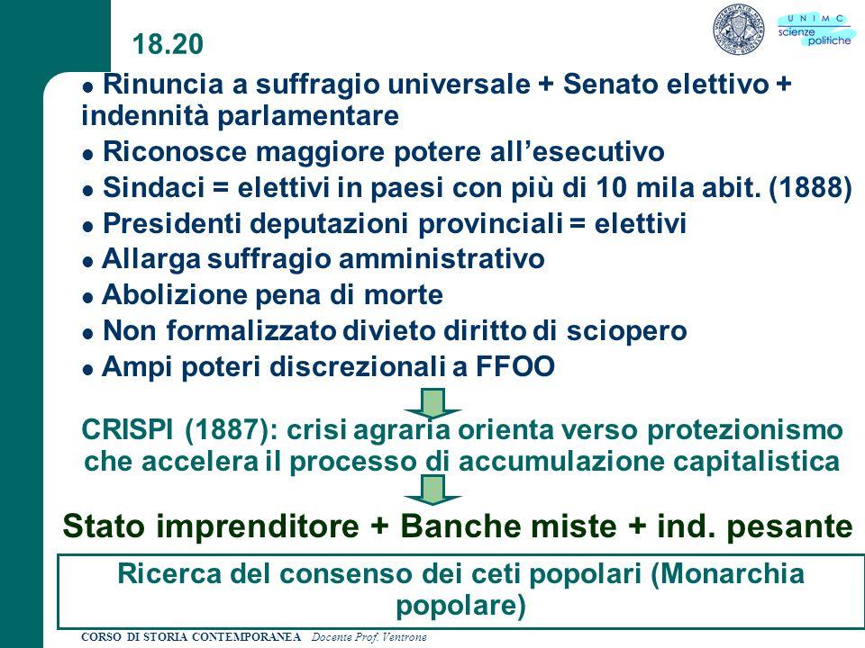 CORSO DI STORIA CONTEMPORANEA Docente Prof. Ventrone 18.20 CRISPI (1887): crisi agraria orienta verso protezionismo che accelera il processo di accumu