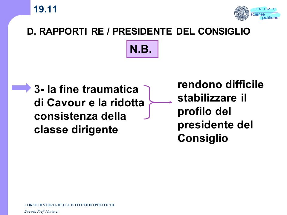 CORSO DI STORIA DELLE ISTITUZIONI POLITICHE Docente Prof. Martucci 19.11 D. RAPPORTI RE / PRESIDENTE DEL CONSIGLIO rendono difficile stabilizzare il p