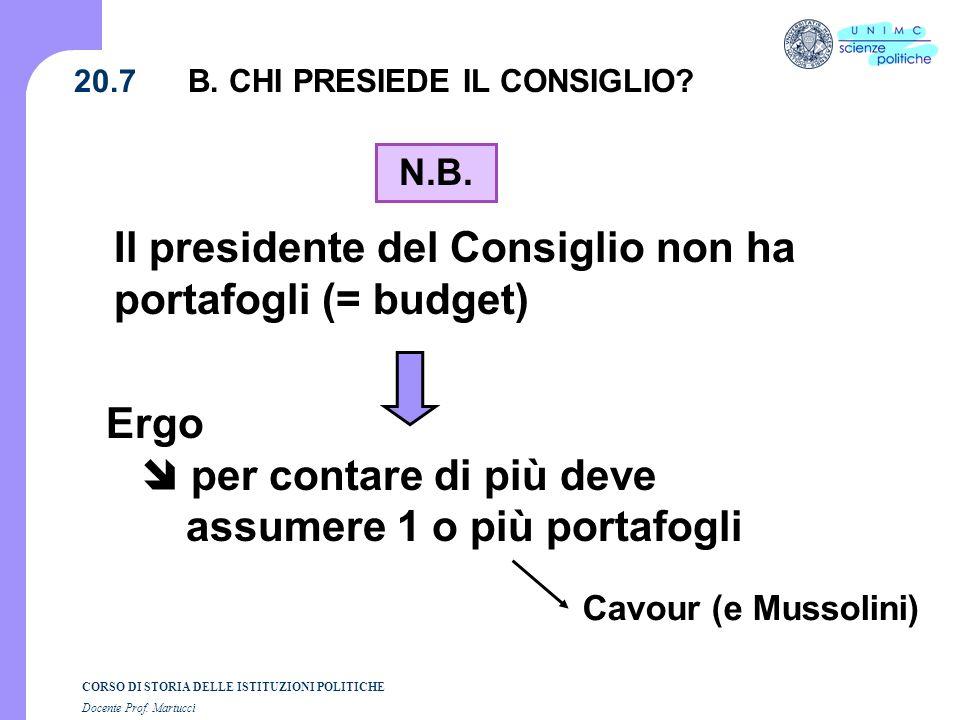 CORSO DI STORIA DELLE ISTITUZIONI POLITICHE Docente Prof. Martucci 20.7 N.B. Il presidente del Consiglio non ha portafogli (= budget) Ergo per contare