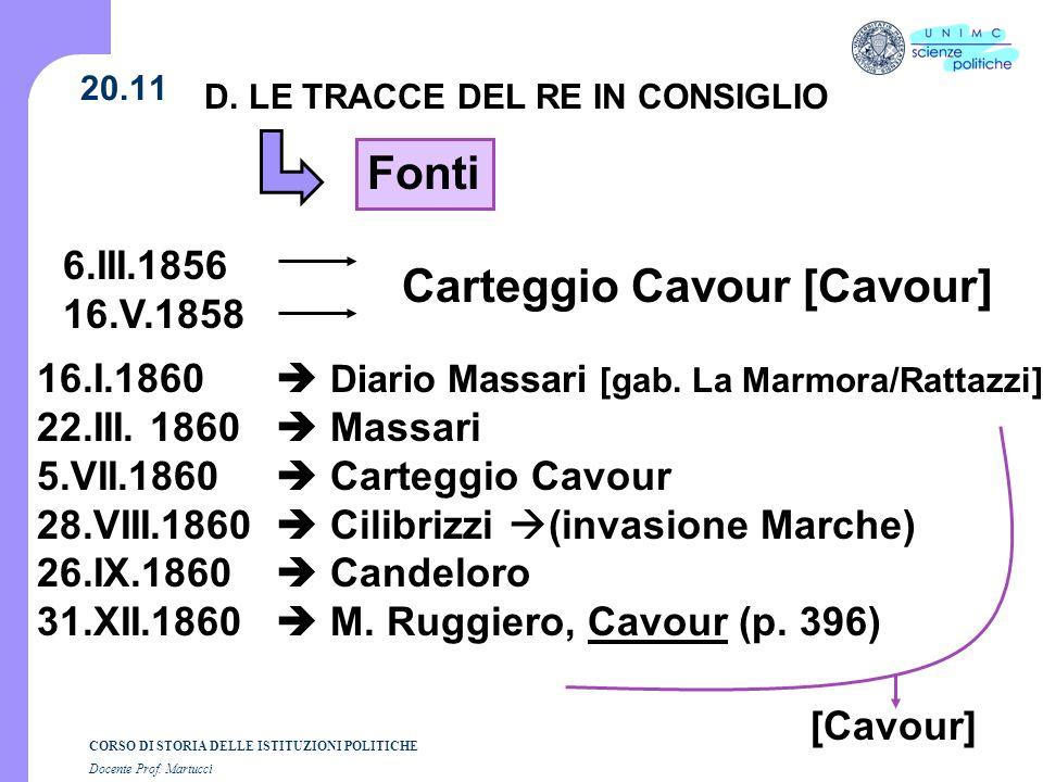 CORSO DI STORIA DELLE ISTITUZIONI POLITICHE Docente Prof. Martucci 20.11 D. LE TRACCE DEL RE IN CONSIGLIO Fonti 6.III.1856 16.V.1858 16.I.1860 Diario
