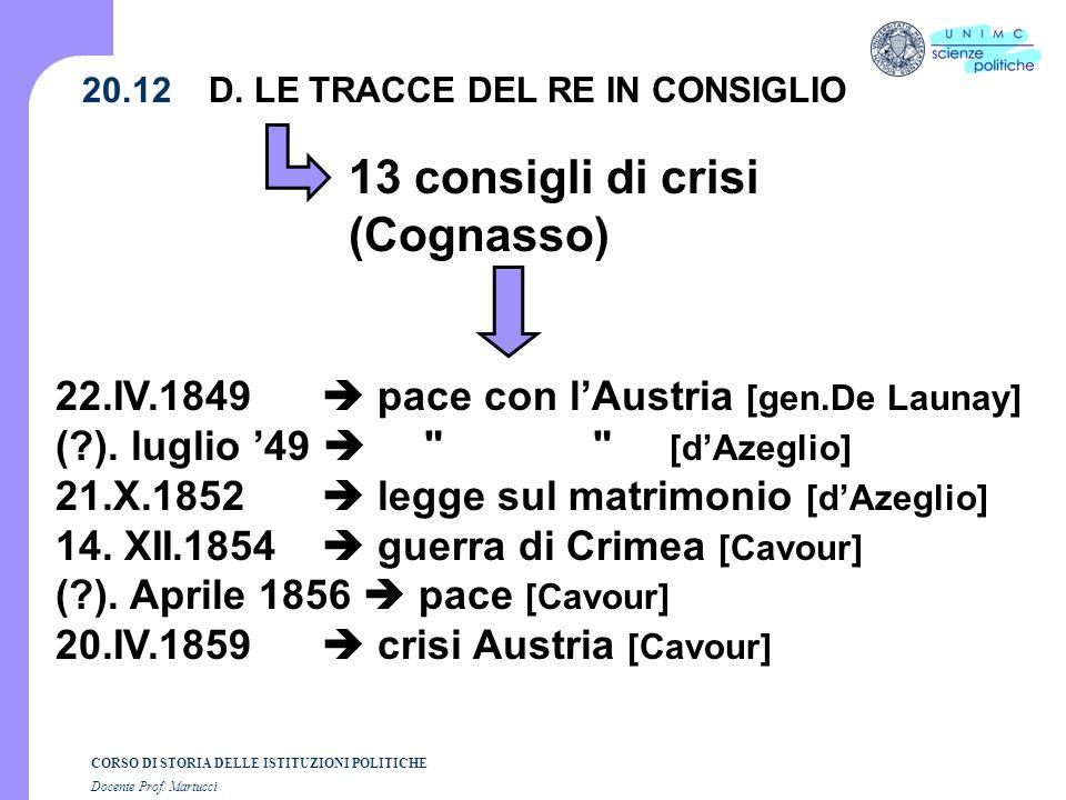CORSO DI STORIA DELLE ISTITUZIONI POLITICHE Docente Prof. Martucci 20.12 13 consigli di crisi (Cognasso) 22.IV.1849 pace con lAustria [gen.De Launay]
