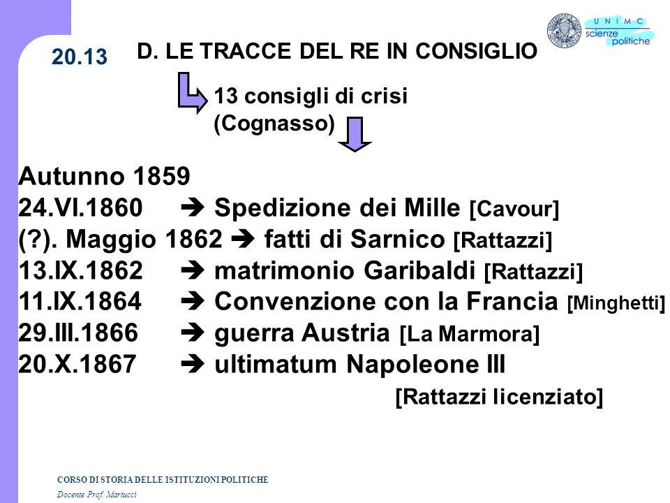 CORSO DI STORIA DELLE ISTITUZIONI POLITICHE Docente Prof. Martucci 20.13 D. LE TRACCE DEL RE IN CONSIGLIO 13 consigli di crisi (Cognasso) Autunno 1859