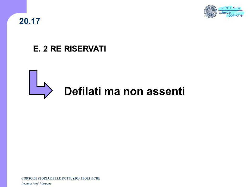CORSO DI STORIA DELLE ISTITUZIONI POLITICHE Docente Prof. Martucci 20.17 E. 2 RE RISERVATI Defilati ma non assenti