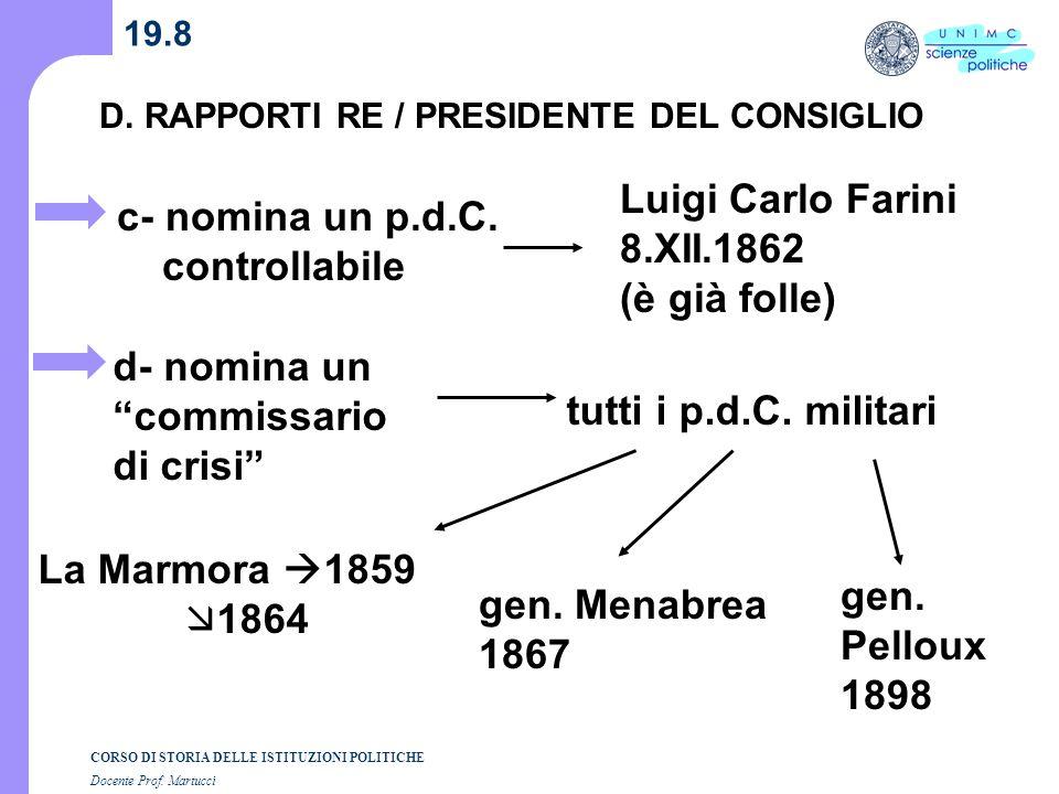 CORSO DI STORIA DELLE ISTITUZIONI POLITICHE Docente Prof. Martucci 19.8 D. RAPPORTI RE / PRESIDENTE DEL CONSIGLIO c- nomina un p.d.C. controllabile d-