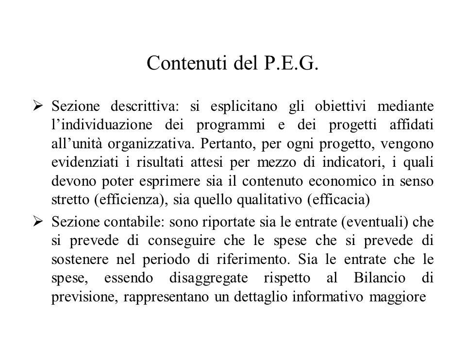 Contenuti del P.E.G.