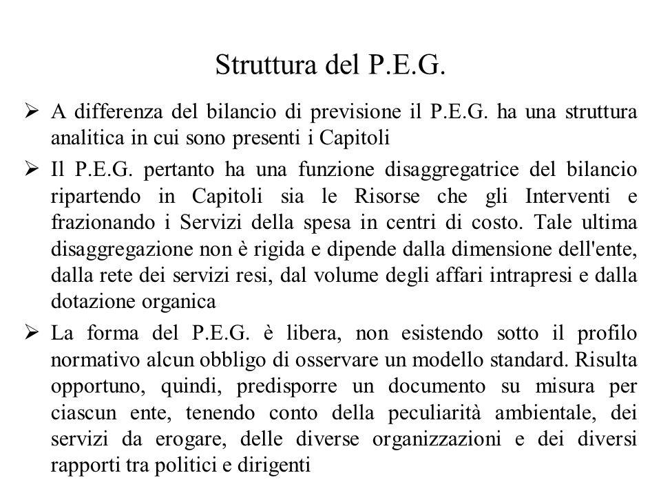 Struttura del P.E.G. A differenza del bilancio di previsione il P.E.G.