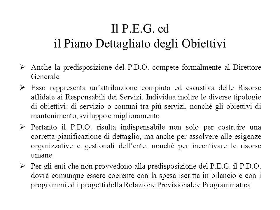 Il P.E.G. ed il Piano Dettagliato degli Obiettivi Anche la predisposizione del P.D.O.