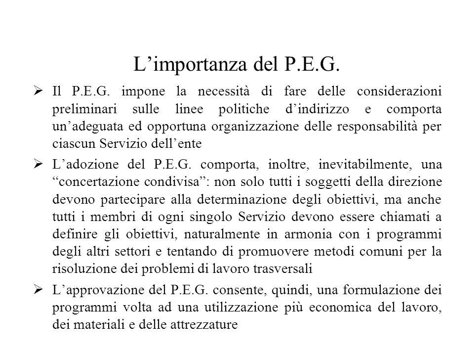 Limportanza del P.E.G. Il P.E.G.