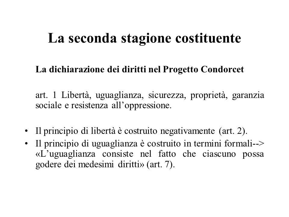 La seconda stagione costituente La dichiarazione dei diritti nel Progetto Condorcet art. 1 Libertà, uguaglianza, sicurezza, proprietà, garanzia social