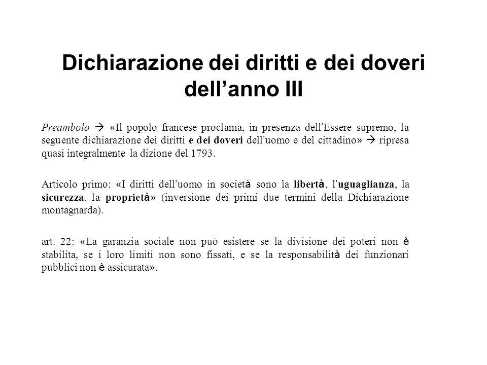 Dichiarazione dei diritti e dei doveri dellanno III Preambolo « Il popolo francese proclama, in presenza dell Essere supremo, la seguente dichiarazion