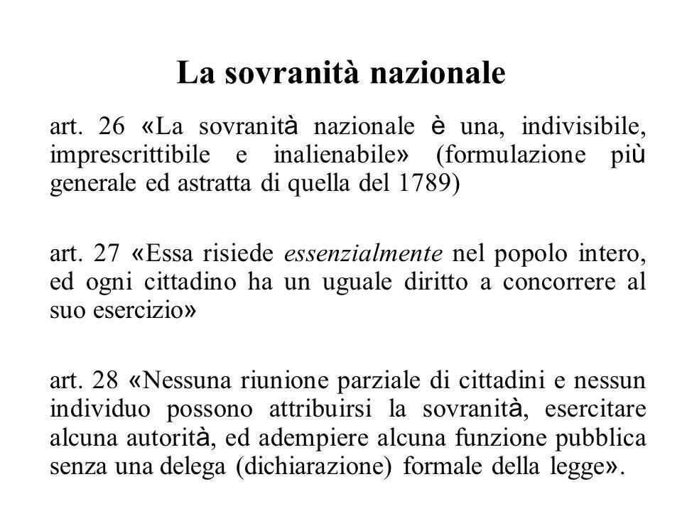 La sovranità nazionale art. 26 « La sovranit à nazionale è una, indivisibile, imprescrittibile e inalienabile » (formulazione pi ù generale ed astratt