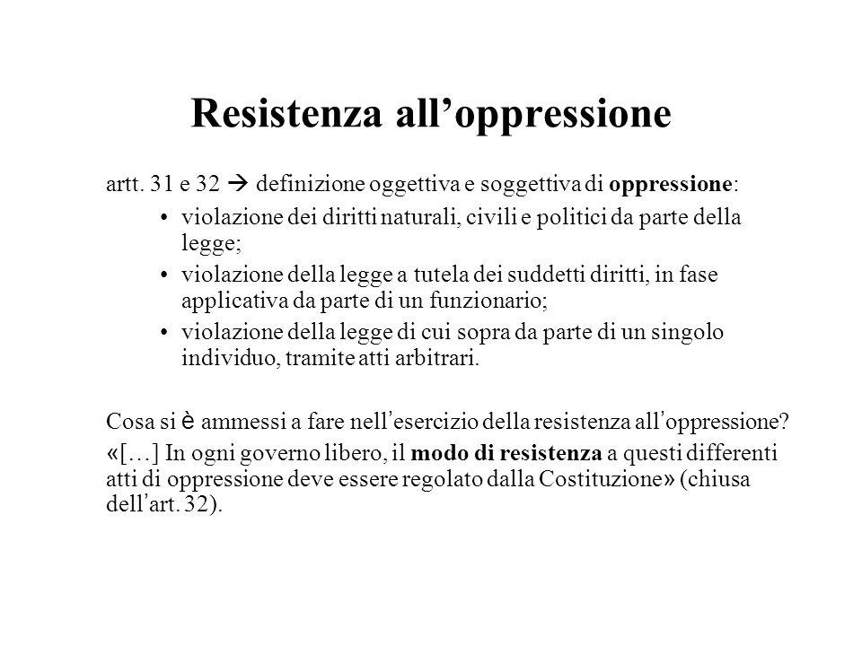 Resistenza alloppressione artt. 31 e 32 definizione oggettiva e soggettiva di oppressione: violazione dei diritti naturali, civili e politici da parte