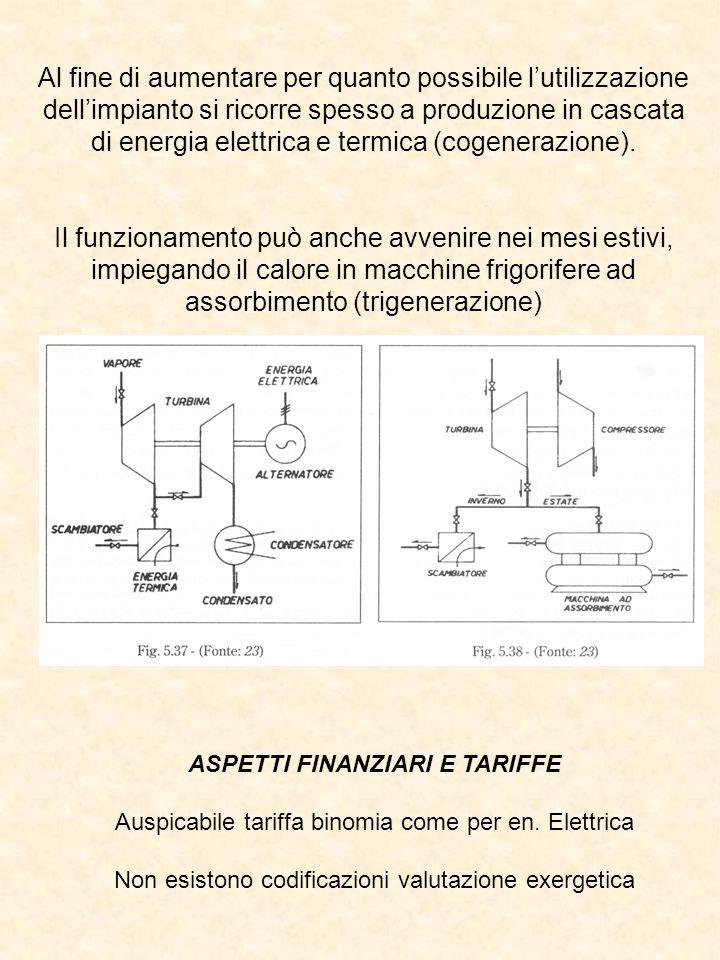 Al fine di aumentare per quanto possibile lutilizzazione dellimpianto si ricorre spesso a produzione in cascata di energia elettrica e termica (cogenerazione).