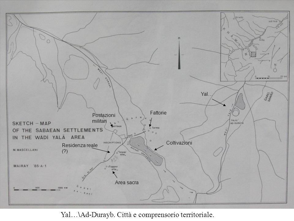Fattorie Coltivazioni Postazioni militari Residenza reale (?) Area sacra Yal… Yal …\ Ad-Durayb.