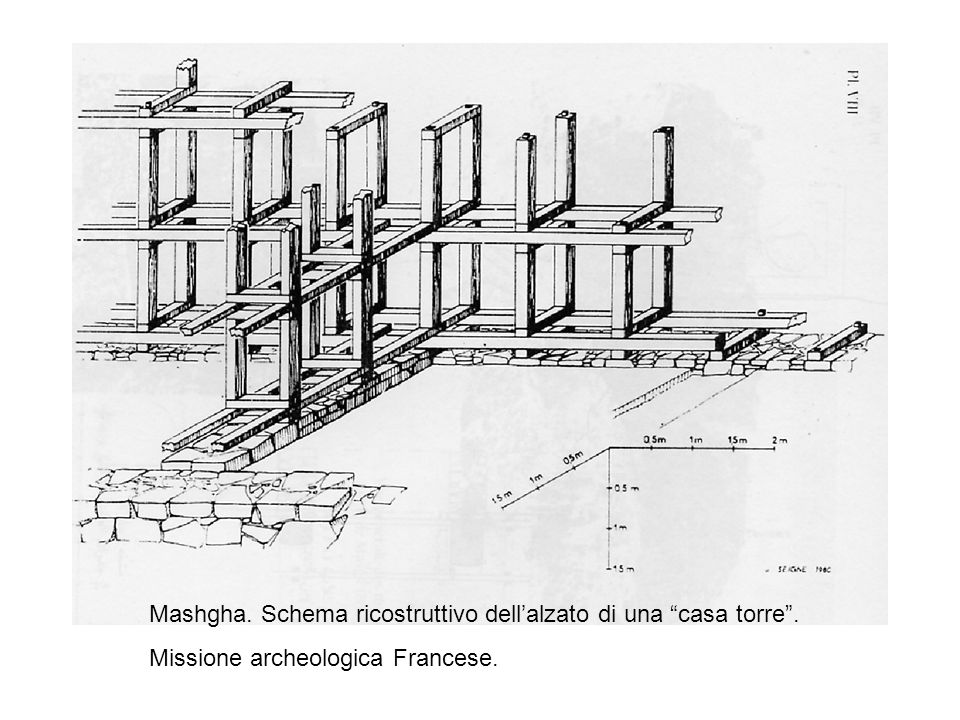 Mashgha. Schema ricostruttivo dellalzato di una casa torre. Missione archeologica Francese.