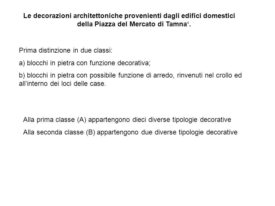 Le decorazioni architettoniche provenienti dagli edifici domestici della Piazza del Mercato di Tamna.