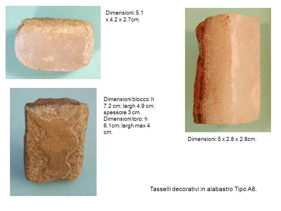 Tasselli decorativi in alabastro Tipo A8.Dimensioni: 5.1 x 4.2 x 2.7cm.