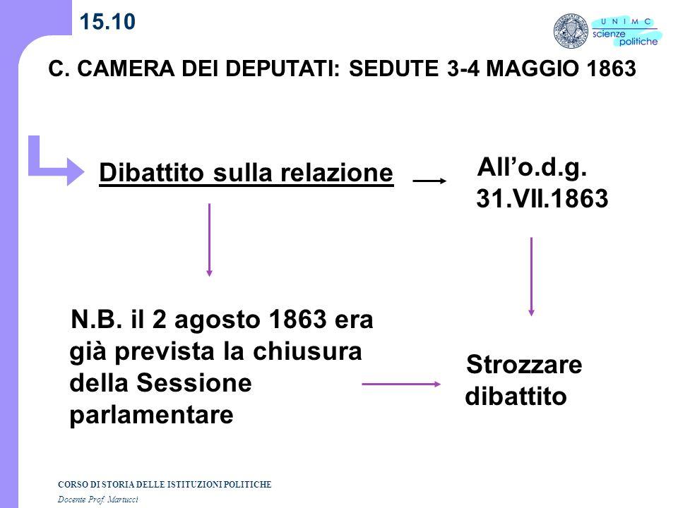 CORSO DI STORIA DELLE ISTITUZIONI POLITICHE Docente Prof. Martucci 15.10 C. CAMERA DEI DEPUTATI: SEDUTE 3-4 MAGGIO 1863 Dibattito sulla relazione N.B.