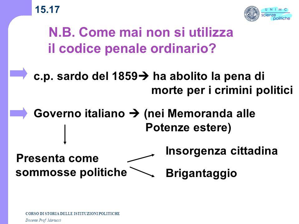 CORSO DI STORIA DELLE ISTITUZIONI POLITICHE Docente Prof. Martucci 15.17 N.B. Come mai non si utilizza il codice penale ordinario? c.p. sardo del 1859