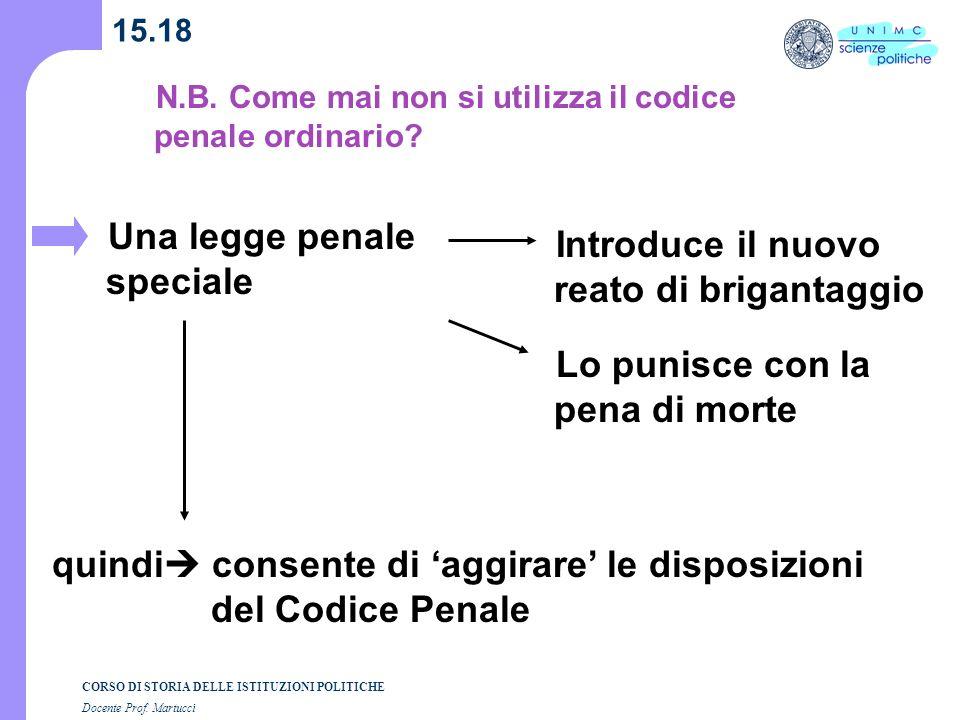 CORSO DI STORIA DELLE ISTITUZIONI POLITICHE Docente Prof. Martucci 15.18 Una legge penale speciale quindi consente di aggirare le disposizioni del Cod